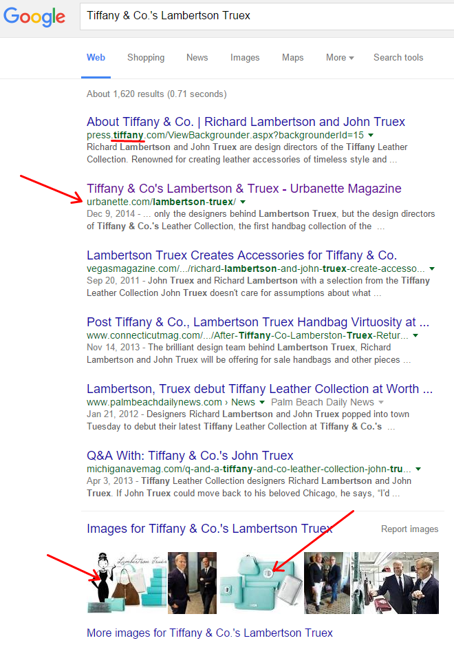 Our interview with the much-publicised designers at Tiffany & Co is essentially the #1 result, above all other publications.