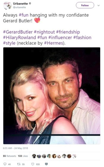 Influencer Marketing - Hilary Rowland and Gerard Butler